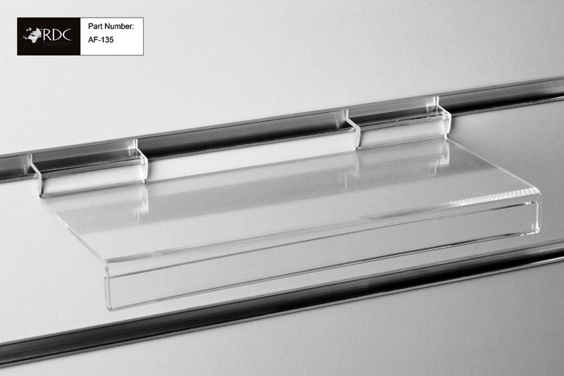 Acrylic Flat Shelf c/w Signholder 250*100mm