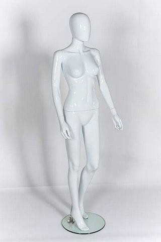 Female Mannequin - Egg Head - Gloss White