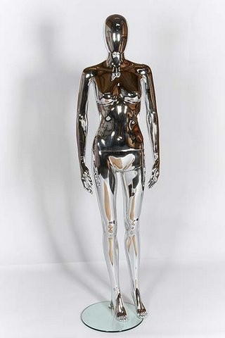 Female Mannequin - Egg Head - Chrome